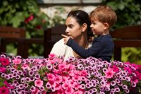 mum-boy-outdoors-flowers